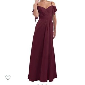 V neck chiffon floor length bridesmaid dress